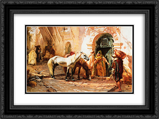 Scene in Morocco 24x18 Black or Gold Ornate Framed and Double Matted Art Print by Frederick Arthur Bridgman