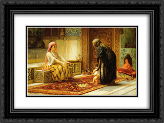 The First Steps 24x18 Black or Gold Ornate Framed and Double Matted Art Print by Frederick Arthur Bridgman