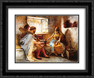 The Game of Chance 24x20 Black or Gold Ornate Framed and Double Matted Art Print by Frederick Arthur Bridgman