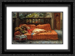 The Siesta 24x18 Black or Gold Ornate Framed and Double Matted Art Print by Frederick Arthur Bridgman