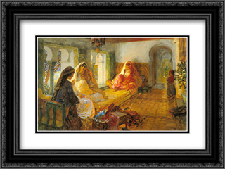 In The Seraglio 24x18 Black or Gold Ornate Framed and Double Matted Art Print by Frederick Arthur Bridgman