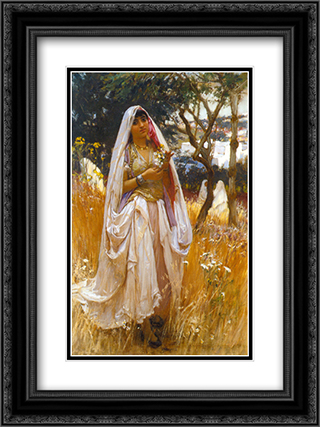 La jeune mauresque 18x24 Black or Gold Ornate Framed and Double Matted Art Print by Frederick Arthur Bridgman