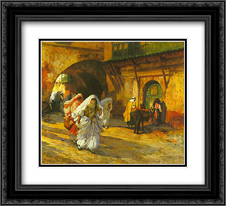 In the Souk 22x20 Black or Gold Ornate Framed and Double Matted Art Print by Frederick Arthur Bridgman