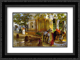 At The Fountain 24x18 Black or Gold Ornate Framed and Double Matted Art Print by Frederick Arthur Bridgman