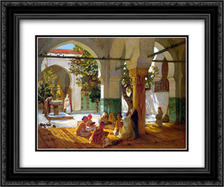 Learning the Qu'ran 24x20 Black or Gold Ornate Framed and Double Matted Art Print by Frederick Arthur Bridgman