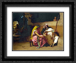 Tete a Tete 24x20 Black or Gold Ornate Framed and Double Matted Art Print by Frederick Arthur Bridgman
