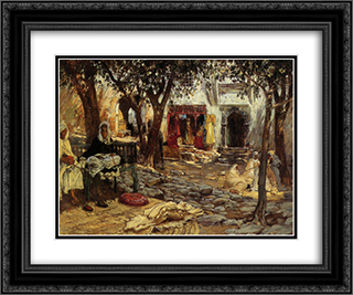 Idle Moments An Arab Courtyard 24x20 Black or Gold Ornate Framed and Double Matted Art Print by Frederick Arthur Bridgman