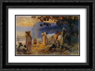 On The Coastline 24x18 Black or Gold Ornate Framed and Double Matted Art Print by Frederick Arthur Bridgman