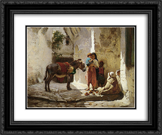 The Orange Seller 24x20 Black or Gold Ornate Framed and Double Matted Art Print by Frederick Arthur Bridgman