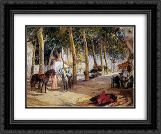 A Shady Street 24x20 Black or Gold Ornate Framed and Double Matted Art Print by Frederick Arthur Bridgman