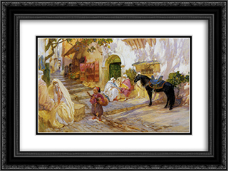 An Algerian Street 24x18 Black or Gold Ornate Framed and Double Matted Art Print by Frederick Arthur Bridgman