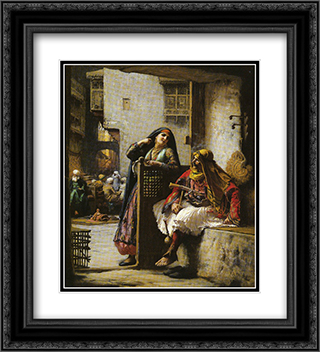 Almeh Flirting with an Armenian Policeman, Cairo 20x22 Black or Gold Ornate Framed and Double Matted Art Print by Frederick Arthur Bridgman