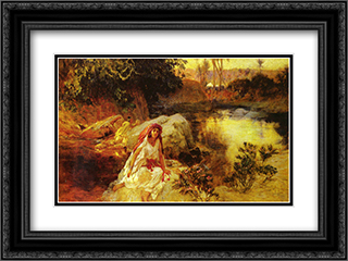 At The Oasis 24x18 Black or Gold Ornate Framed and Double Matted Art Print by Frederick Arthur Bridgman