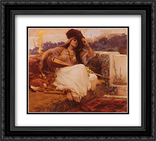 L'Indolence 22x20 Black or Gold Ornate Framed and Double Matted Art Print by Frederick Arthur Bridgman