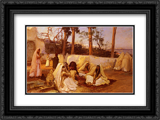 Women at the Cemetery, Algiers 24x18 Black or Gold Ornate Framed and Double Matted Art Print by Frederick Arthur Bridgman