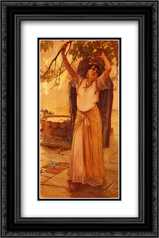 Spanish Lady 16x24 Black or Gold Ornate Framed and Double Matted Art Print by Frederick Arthur Bridgman
