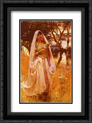 La Jeune Mauresque, Campagne D'Algiers 18x24 Black or Gold Ornate Framed and Double Matted Art Print by Frederick Arthur Bridgman