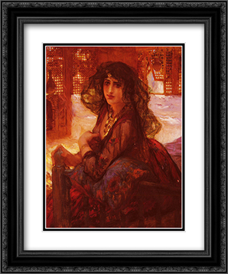 Harem Girl 20x24 Black or Gold Ornate Framed and Double Matted Art Print by Frederick Arthur Bridgman