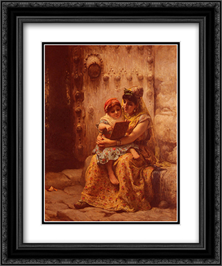 The Reading Lesson 20x24 Black or Gold Ornate Framed and Double Matted Art Print by Frederick Arthur Bridgman