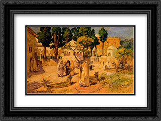 Arab Women at the Town Wall 24x18 Black or Gold Ornate Framed and Double Matted Art Print by Frederick Arthur Bridgman