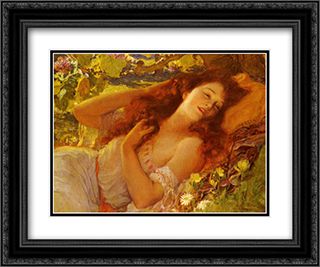 Dolce Far Niente 24x20 Black or Gold Ornate Framed and Double Matted Art Print by Frederick Arthur Bridgman