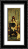Lady at the Spinett 14x24 Black or Gold Ornate Framed and Double Matted Art Print by Hans Makart