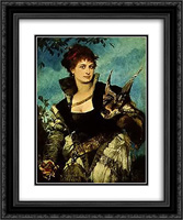The Falconress 20x24 Black or Gold Ornate Framed and Double Matted Art Print by Hans Makart