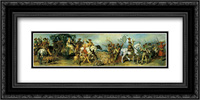 Hunting Party with Treasure Wagon 24x12 Black or Gold Ornate Framed and Double Matted Art Print by Hans Makart