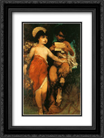Faun and Nymph (Pan and Flora) 18x24 Black or Gold Ornate Framed and Double Matted Art Print by Hans Makart