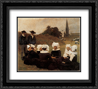 Breton Women at a Pardon 22x20 Black or Gold Ornate Framed and Double Matted Art Print by Pascal Adophe Jean Dagnan Bouveret