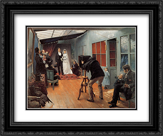 Wedding Party at the Photographer's Studio 24x20 Black or Gold Ornate Framed and Double Matted Art Print by Pascal Adophe Jean Dagnan Bouveret
