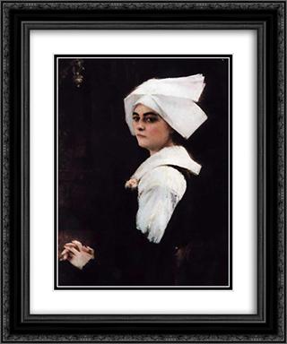 Portrait of a Brittany Girl 20x24 Black or Gold Ornate Framed and Double Matted Art Print by Pascal Adophe Jean Dagnan Bouveret