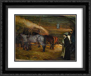 In the Stable 24x20 Black or Gold Ornate Framed and Double Matted Art Print by Pascal Adophe Jean Dagnan Bouveret