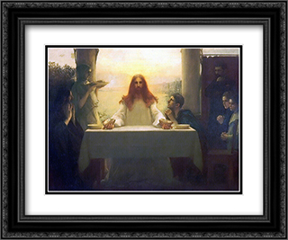 Christ and the Disciples at Emmaus 24x20 Black or Gold Ornate Framed and Double Matted Art Print by Pascal Adophe Jean Dagnan Bouveret