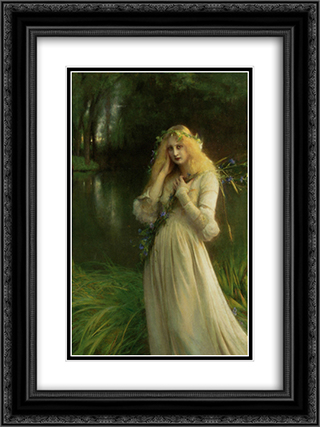 Ophelia 18x24 Black or Gold Ornate Framed and Double Matted Art Print by Pascal Adophe Jean Dagnan Bouveret