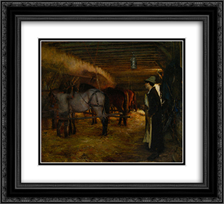 A Stable 22x20 Black or Gold Ornate Framed and Double Matted Art Print by Pascal Adolphe Jean Dagnan Bouveret