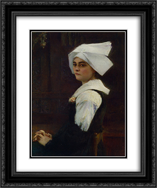 Breton Girl 20x24 Black or Gold Ornate Framed and Double Matted Art Print by Pascal Adophe Jean Dagnan Bouveret