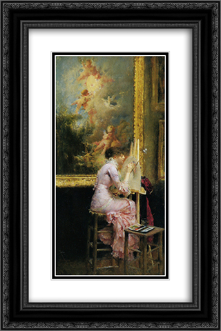 Lartiste au musee 16x24 Black or Gold Ornate Framed and Double Matted Art Print by Pascal Adophe Jean Dagnan Bouveret