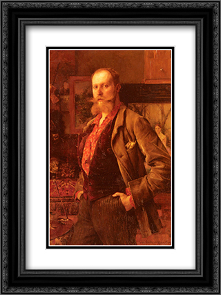 Portrait of Gustave Courtois 18x24 Black or Gold Ornate Framed and Double Matted Art Print by Pascal Adophe Jean Dagnan Bouveret