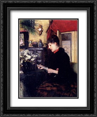 La Lettre 20x24 Black or Gold Ornate Framed and Double Matted Art Print by Pascal Adophe Jean Dagnan Bouveret