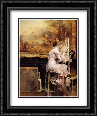 Young Watercolourist In The Louvre 20x24 Black or Gold Ornate Framed and Double Matted Art Print by Pascal Adophe Jean Dagnan Bouveret