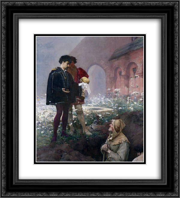 Hamlet et les Fossoyeurs 20x22 Black or Gold Ornate Framed and Double Matted Art Print by Pascal Adophe Jean Dagnan Bouveret