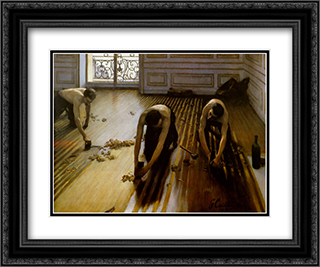 Floor Strippers 24x20 Black or Gold Ornate Framed and Double Matted Art Print by Gustave Caillebotte