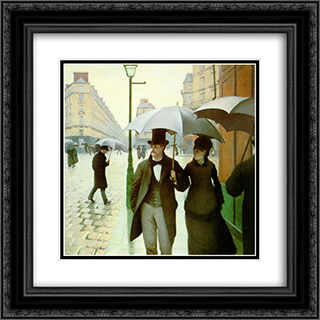 Paris Street 20x20 Black or Gold Ornate Framed and Double Matted Art Print by Gustave Caillebotte