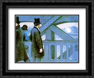 On the Europe Bridge 24x20 Black or Gold Ornate Framed and Double Matted Art Print by Gustave Caillebotte