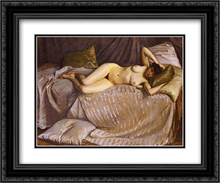 Naked Woman Lying on a Couch 24x20 Black or Gold Ornate Framed and Double Matted Art Print by Gustave Caillebotte