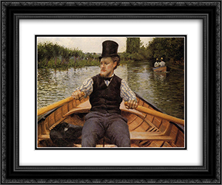 Boating Party 24x20 Black or Gold Ornate Framed and Double Matted Art Print by Gustave Caillebotte