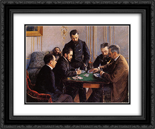 Game of Bezique 24x20 Black or Gold Ornate Framed and Double Matted Art Print by Gustave Caillebotte