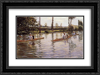 Perissoires sur l'Yerres 24x18 Black or Gold Ornate Framed and Double Matted Art Print by Gustave Caillebotte