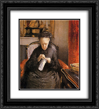 Portait of Madame Martial Caillebote (the artist's mother) 20x22 Black or Gold Ornate Framed and Double Matted Art Print by Gustave Caillebotte